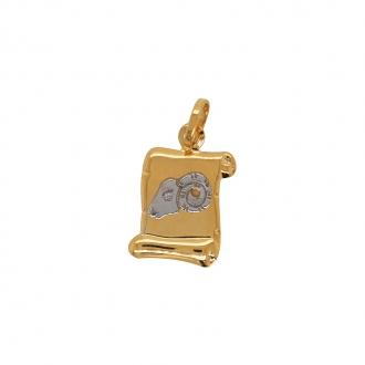 Médaille Carador parchemin Bélier or bicolore 750/000