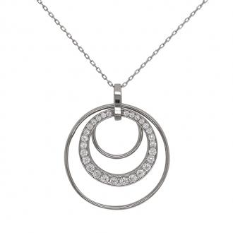 a3613164ccdf1 Collier femme Carador Cercles en argent 925/000 et oxydes de zirconium
