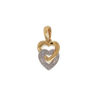 Pendentif coeurs Femme Carador en Or 750/000 serti diamants