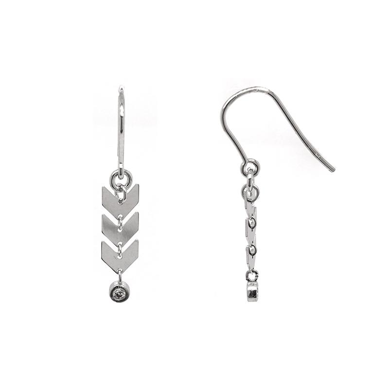 Boucles d'oreilles Silver Pop flêches argent 925/000 et oxyde de zirconium