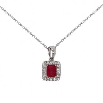 Collier Carador en Or blanc 750/000 avec pendentif Rubis et Diamants