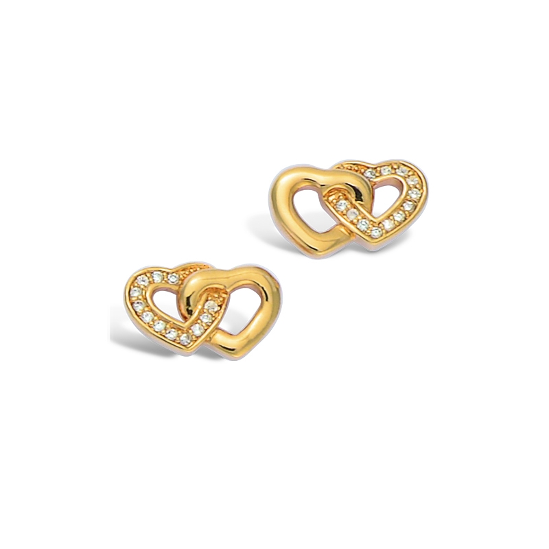 Boucles d'oreilles Carador coeurs enlacés oxydes de zirconium en plaqué or