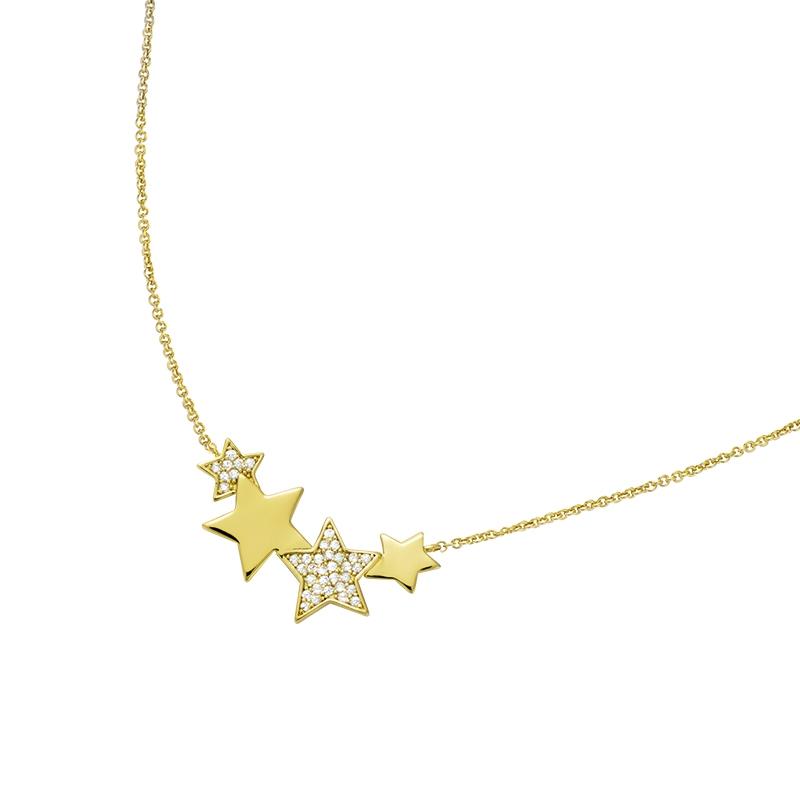 Collier souple Carador double étoiles en plaqué or et oxydes de zirconium
