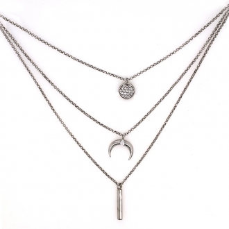 Collier Constellation Silver Pop Lune en argent 925/000 et oxydes de zirconium