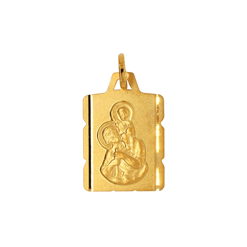 Médaille St Christophe Carador rectangulaire en or jaune 375/000
