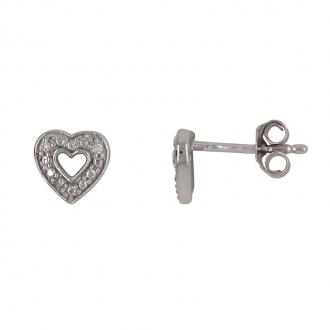 Boucles d'oreilles motif coeur en or blanc 750/000 et diamant CARADOR