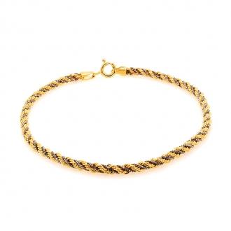 Bracelet en or 750/000 maille corde bicolore de chez CARADOR