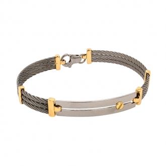 Bracelet semi-rigide en or jaune 750/000 et acier