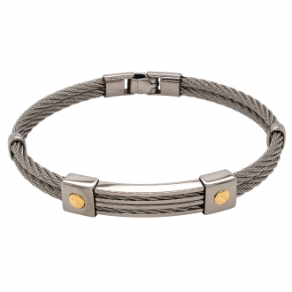 Bracelet rigide avec vis en or jaune 750/000 et acier