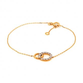 Bracelet en or jaune 750/000 double cercle et oxydes de zirconium CARADOR