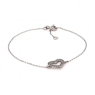 Bracelet en or blanc 750/000 motif coeur en oxydes de zirconium CARADOR