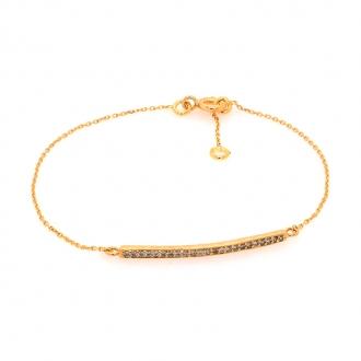 Bracelet en or jaune 750/000 maille forçat et barette d'oxydes de zirconium de chez CARADOR