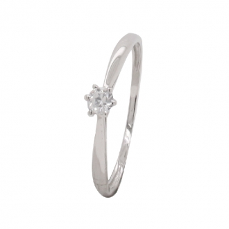 Bague Carador Femme Or Blanc 750/000 Solitaire oxyde