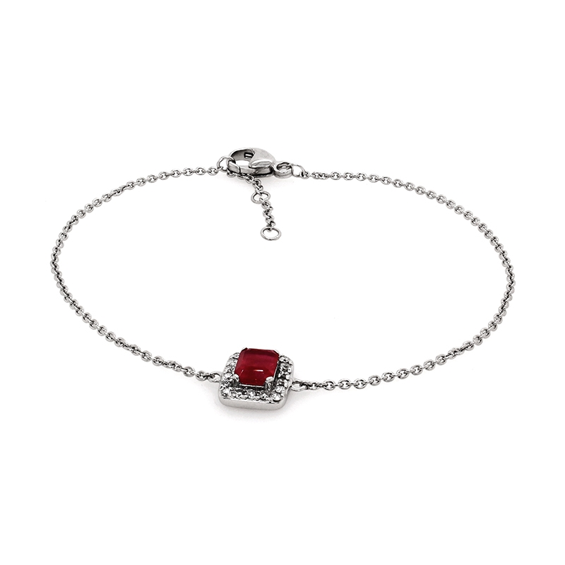 Bracelet en or blanc 750/000 en diamant et rubis