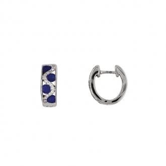 Boucles d'oreilles Carador cliquets or blanc 750/000, saphirs et diamants