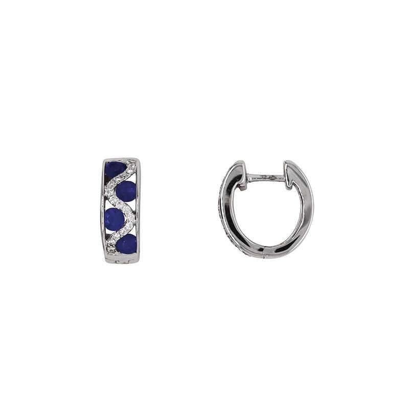 Boucles d'oreilles Carador cliquet or blanc 750/000, saphirs et diamants
