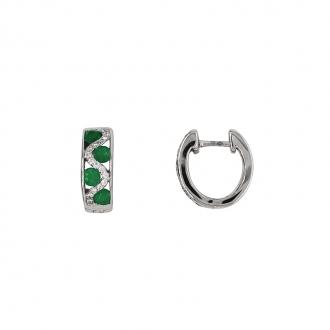 Boucles d'oreilles Carador cliquets or blanc 750/000, émeraudes et diamants