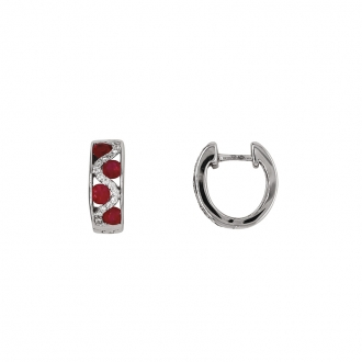 Boucles d'oreilles Carador cliquet or blanc 750/000, rubis et diamants