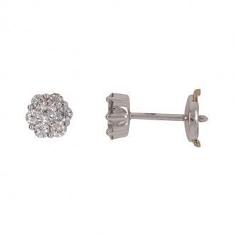 Boucles d'oreilles Carador clou fleur diamant en or blanc 750/000
