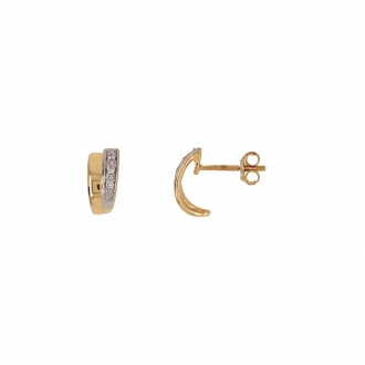 Boucles d'oreilles mini demi-créoles Carador or 750/000 bicolore et diamants