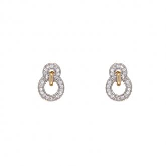 Boucles d'oreilles en or jaune 375/000 et oxydes de zirconium