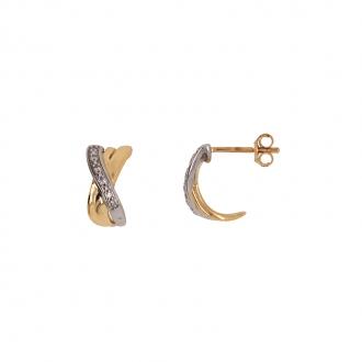 Boucles d'oreilles demi-créoles croisées Carador en or jaune 750/000 et diamant