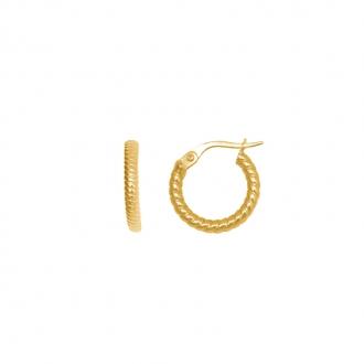 Boucles d'oreilles créoles perlées or 375/000 CARADOR