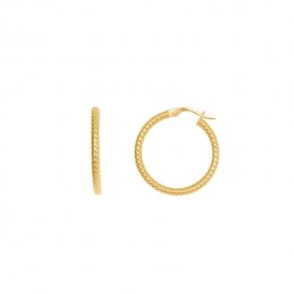Boucles d'oreilles créoles perlées or 375/000 CARADOR 2cm