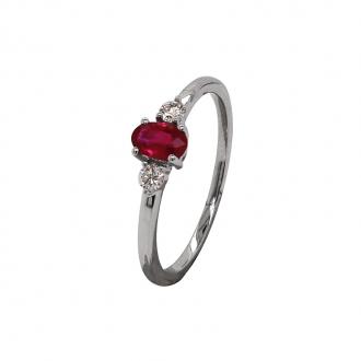 Bague joaillerie Carador en or blanc 750/000, rubis et diamant