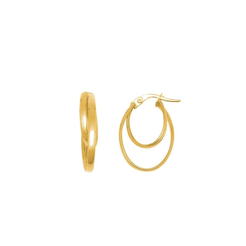 Boucles d'oreilles ovales doubles créoles en or jaune 375/000 CARADOR
