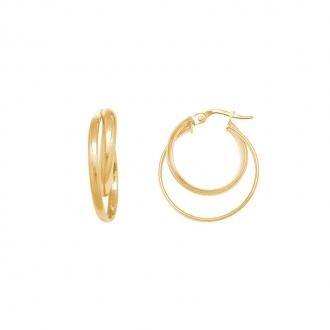 Boucles d'oreilles rondes doubles créoles en or jaune 375/000 CARADOR