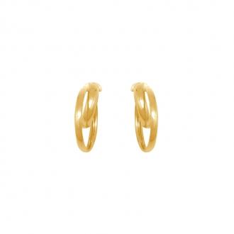 Boucles d'oreilles rondes doubles créoles en or jaune 375/000 CARADOR 1.5cm et 1 cm