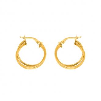 Boucles d'oreilles doubles créoles rondes en or jaune 375/000 CARADOR