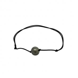 Bracelet en coton noir et perle de tahiti 9mm CARADOR