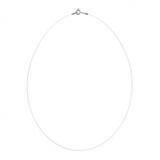 Collier cable nylon et attache en or blanc 750/000