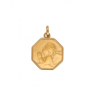 Médaille hexagone ange en prière Carador en or 750/000