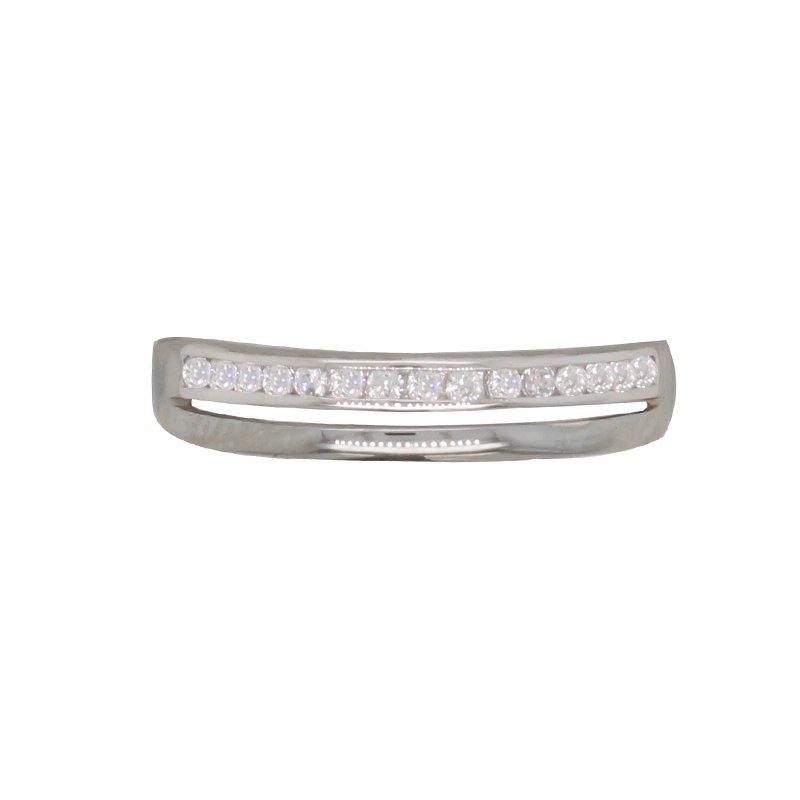 Bague Carador anneau double or blanc 375/000 et oxydes de zirconium