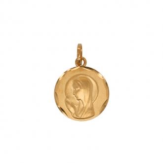 Médaille ronde Carador vierge en or jaune750/000