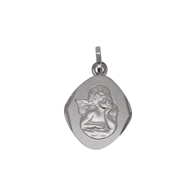 Médaille ovale Carador ange en or blanc 750/000