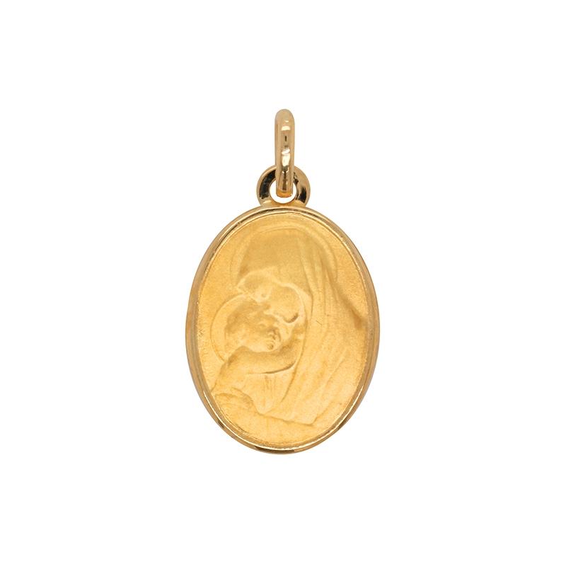 Médaille ovale Carador vierge et l'enfant en or jaune 750/000