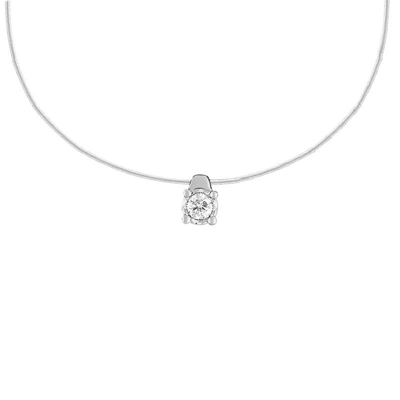 Collier en nylon et diamant de chez CARADOR or blanc 750/000