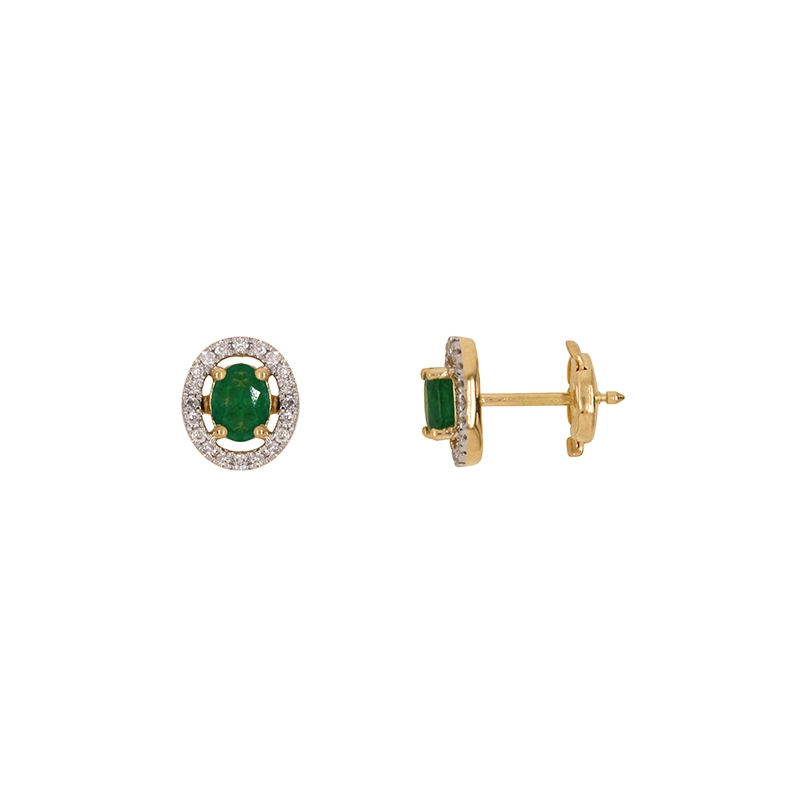 Boucles d'oreilles Carador style renaissance en or jaune 750/000, émeraude et diamants
