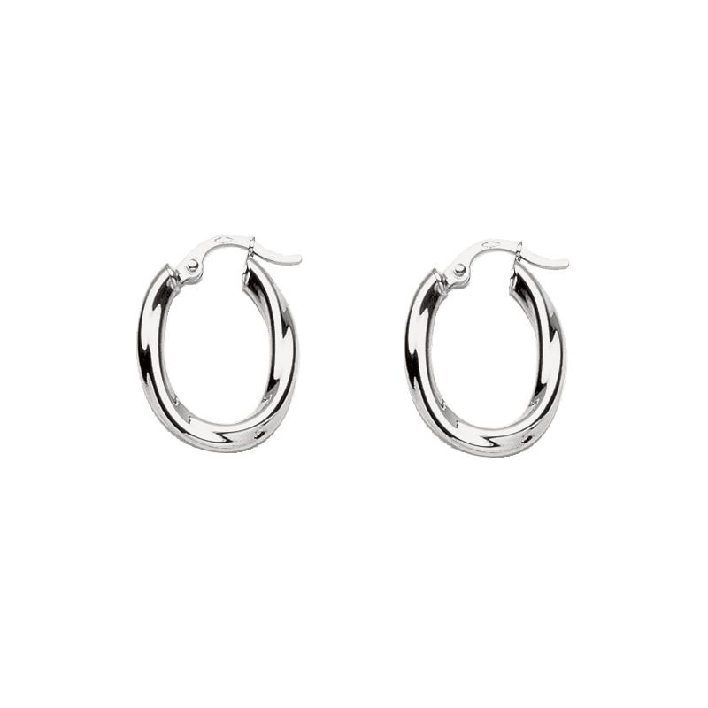 acheter populaire meilleure qualité nouvelle saison Boucles d'oreilles créoles Carador tube oval torsadé en or blanc 750/000