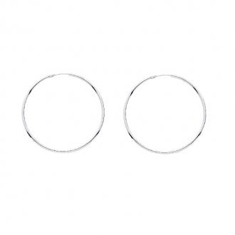 Boucles d'oreilles Créoles Carador en or blanc 750/00 diamètre 42 mm
