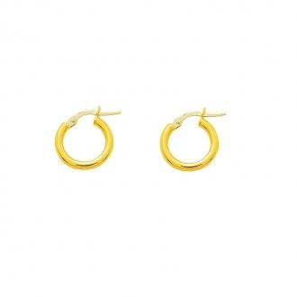Boucles d'oreilles Créoles Carador en or jaune 750/00 diamètre 14 mm