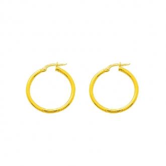 Boucles d'oreilles Créoles Carador en or jaune 750/00 diamètre 19 mm