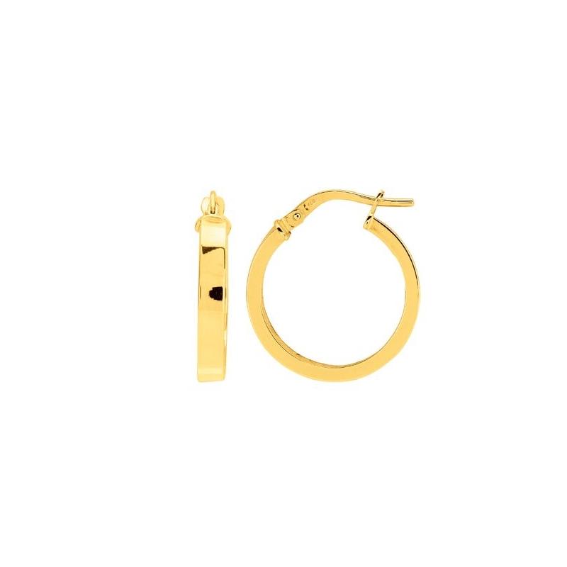 Boucles d'oreilles Créoles Carador fil rectangle en or jaune 750/00 diamètre 19 mm