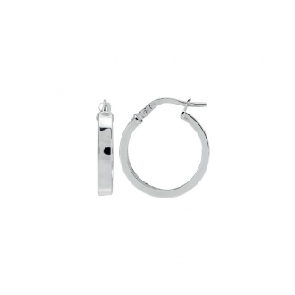 Boucles d'oreilles Créoles Carador fil rectangle en or blanc 750/00 diamètre 19 mm