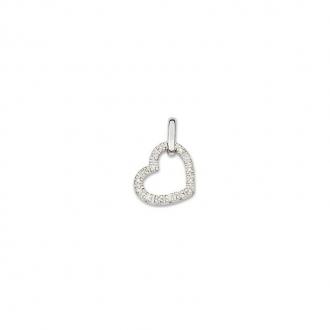 Pendentif coeur en Or blanc 750/000 et diamant CARADOR