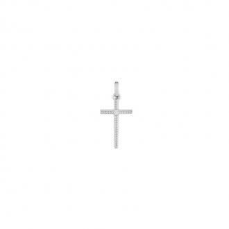 Pendentif croix en Or blanc 750/000 et diamant CARADOR